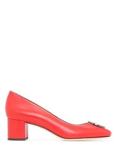 Tory Burch Kısa Topuklu %100 Deri Ayakkabı Kırmızı